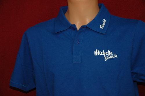Michelle Bönisch-Poloshirt Royalblau mit Logo Fanclub Größe L